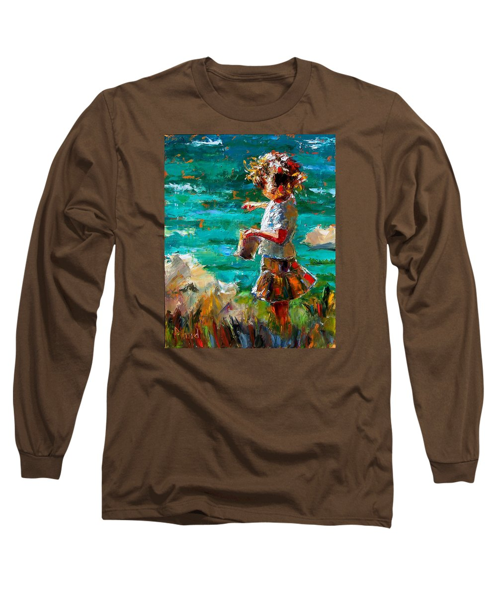 Children Long Sleeve T-Shirt featuring the painting One At A Time by Debra Hurd