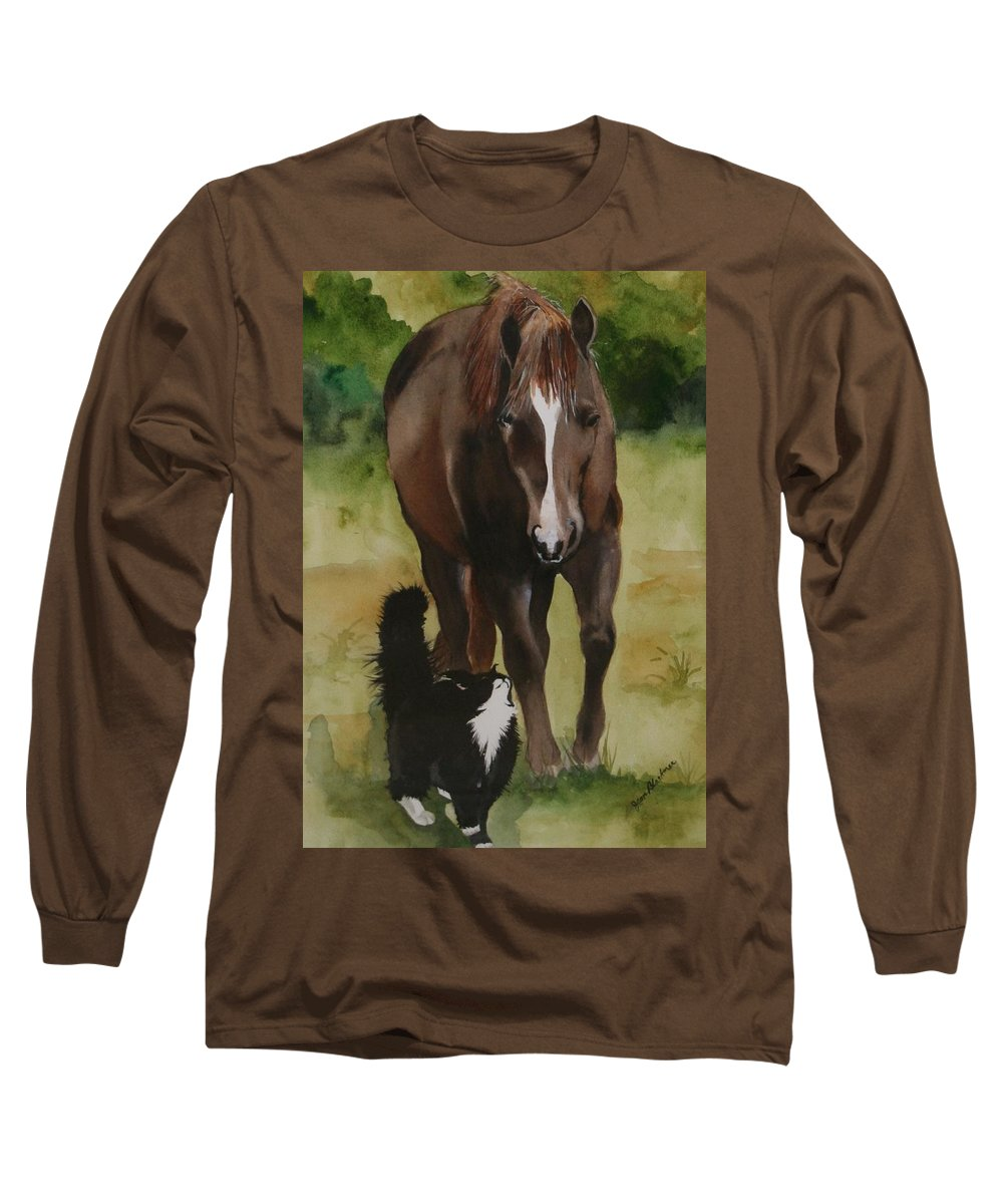 Horse Long Sleeve T-Shirt featuring the painting Oscar And Friend by Jean Blackmer