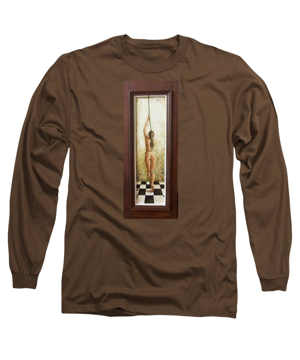 Figurative Long Sleeve T-Shirt featuring the painting Out Of Chess by Natalia Tejera