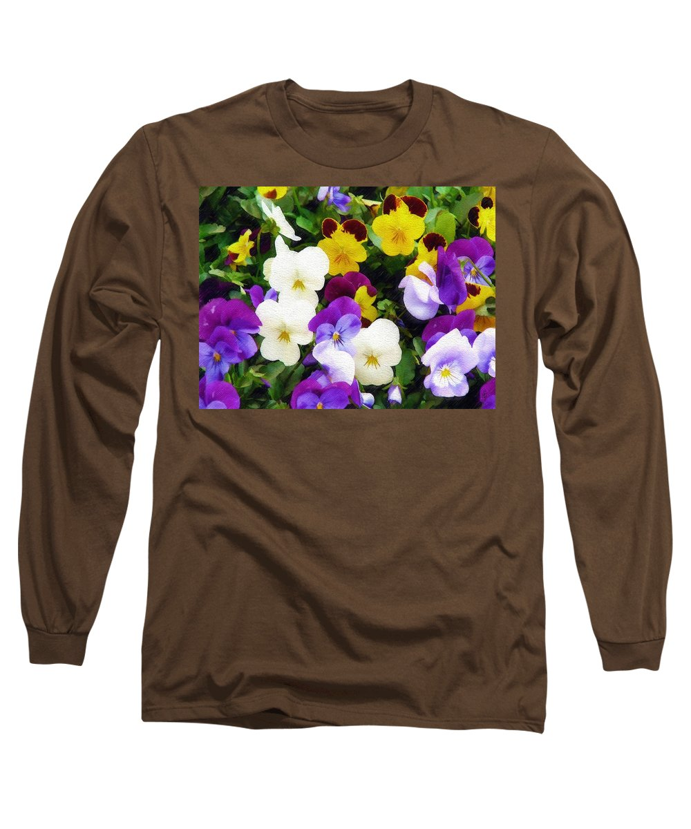 Pansies Long Sleeve T-Shirt featuring the photograph Pansies by Sandy MacGowan