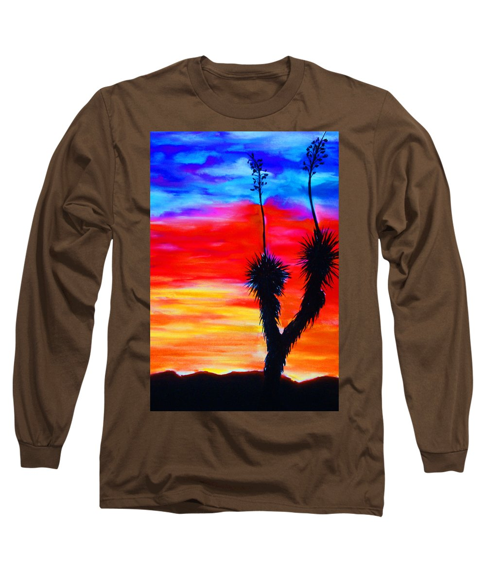 Sunset Long Sleeve T-Shirt featuring the painting Paso Del Norte Sunset 1 by Melinda Etzold