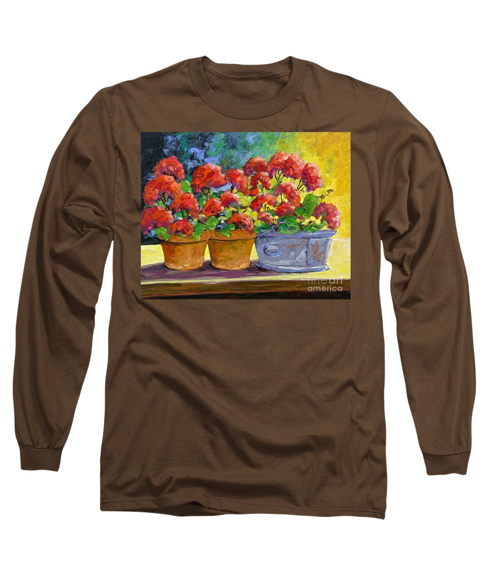 Still Life; Geraniums; Flowers; Terra Cotta; Red; Blue; Yellow; Green; Pranke; Long Sleeve T-Shirt featuring the painting Passion In Red by Richard T Pranke