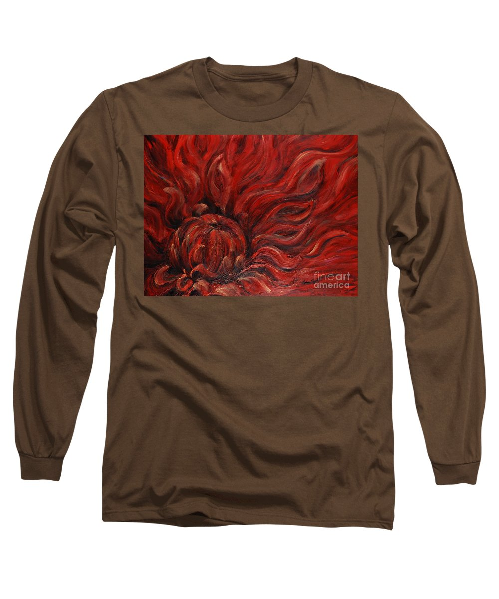 Flower Long Sleeve T-Shirt featuring the painting Passion Iv by Nadine Rippelmeyer