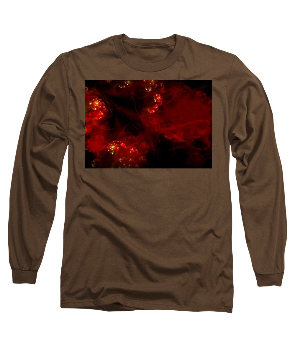 Passion Red Explosion Expression Blood Heart Long Sleeve T-Shirt featuring the digital art Passional by Veronica Jackson