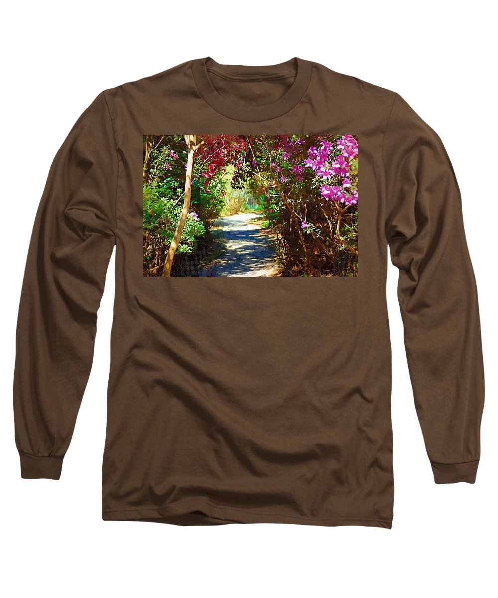 Landscape Long Sleeve T-Shirt featuring the digital art Path To The Gardens by Donna Bentley