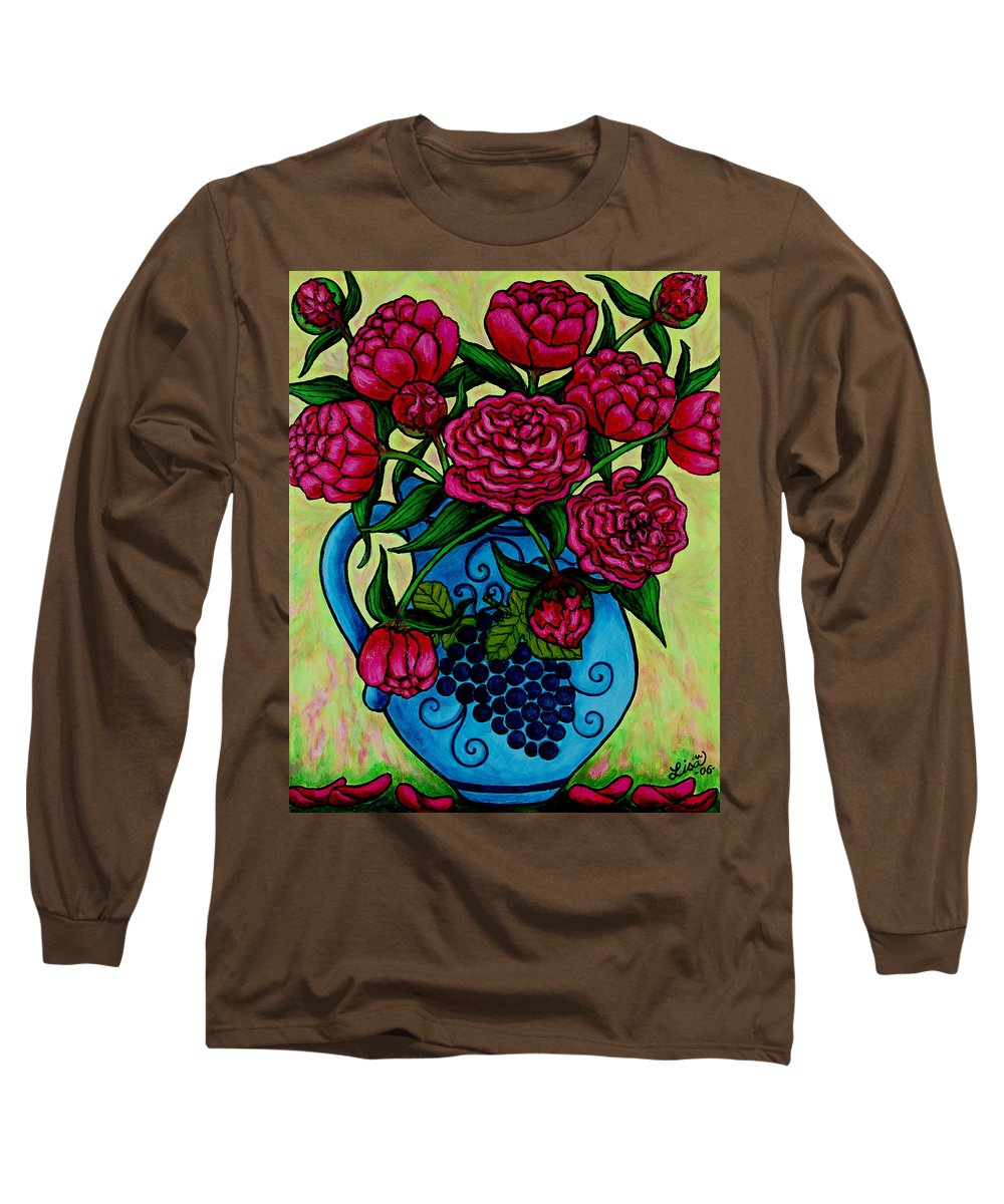 Peonies Long Sleeve T-Shirt featuring the painting Peony Party by Lisa Lorenz