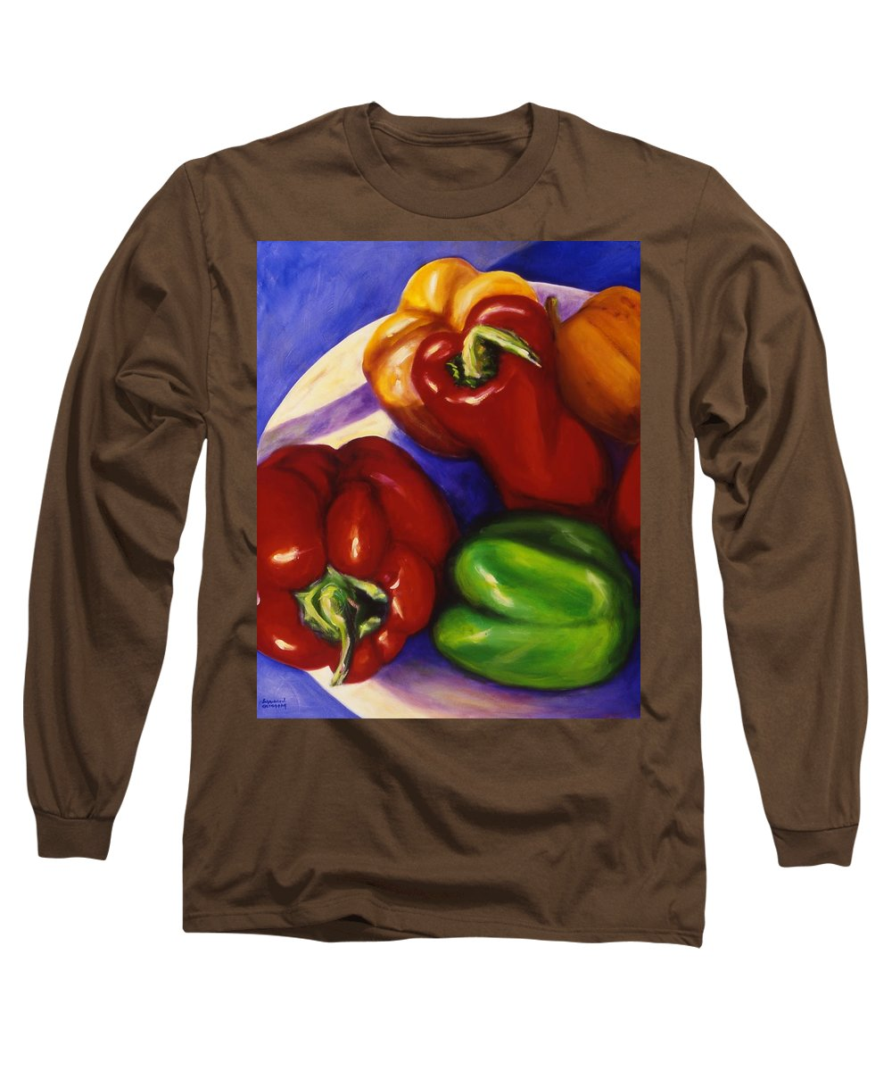 Still Life Peppers Long Sleeve T-Shirt featuring the painting Peppers In The Round by Shannon Grissom