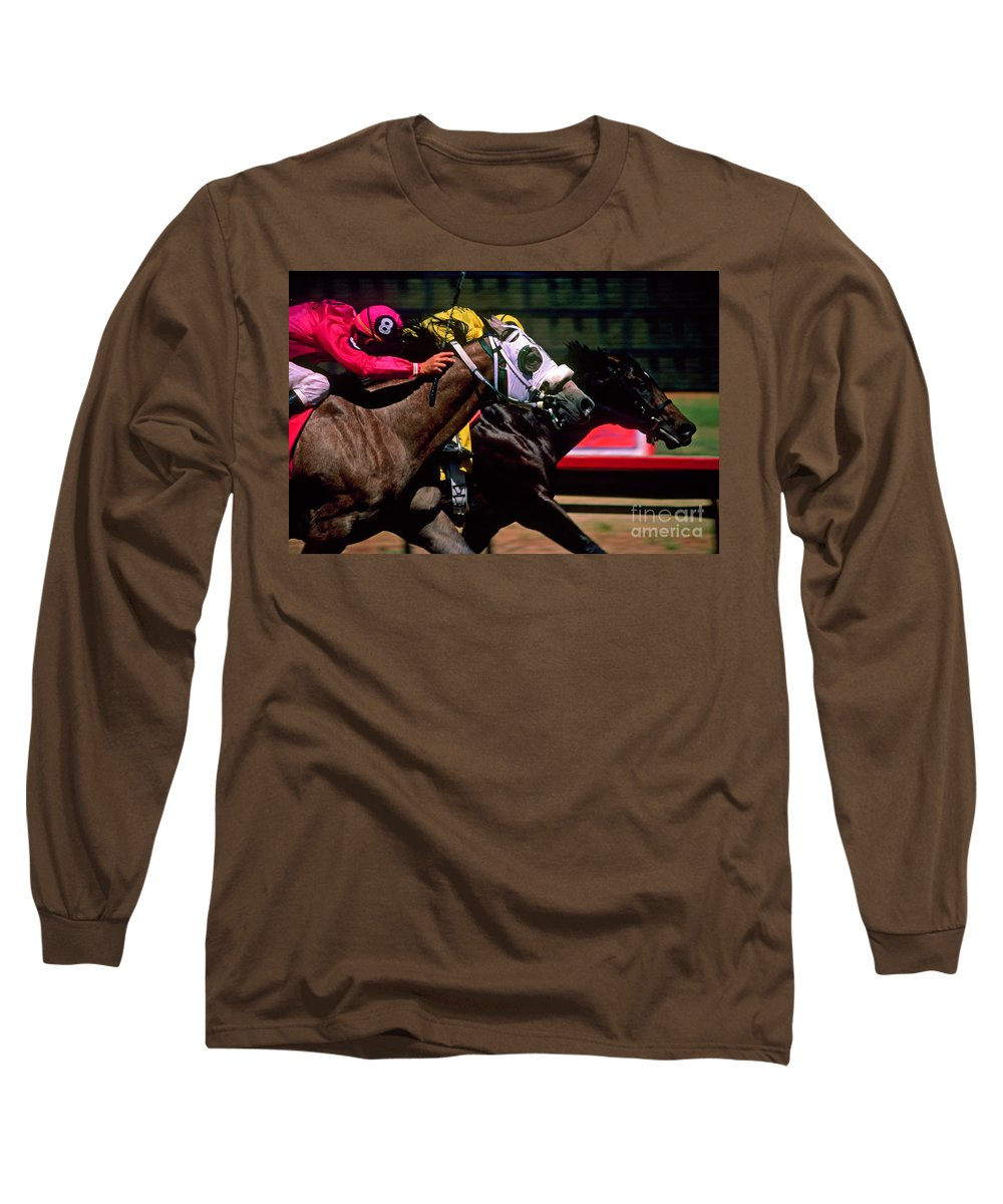 Horse Long Sleeve T-Shirt featuring the photograph Photo Finish by Kathy McClure