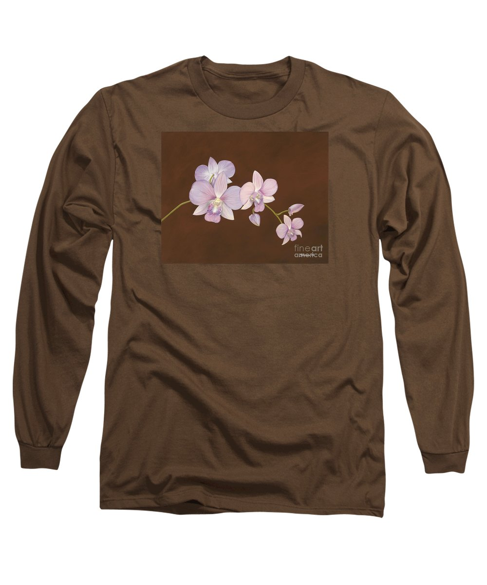 Orchid Long Sleeve T-Shirt featuring the painting Pink Orchids by Shawn Stallings