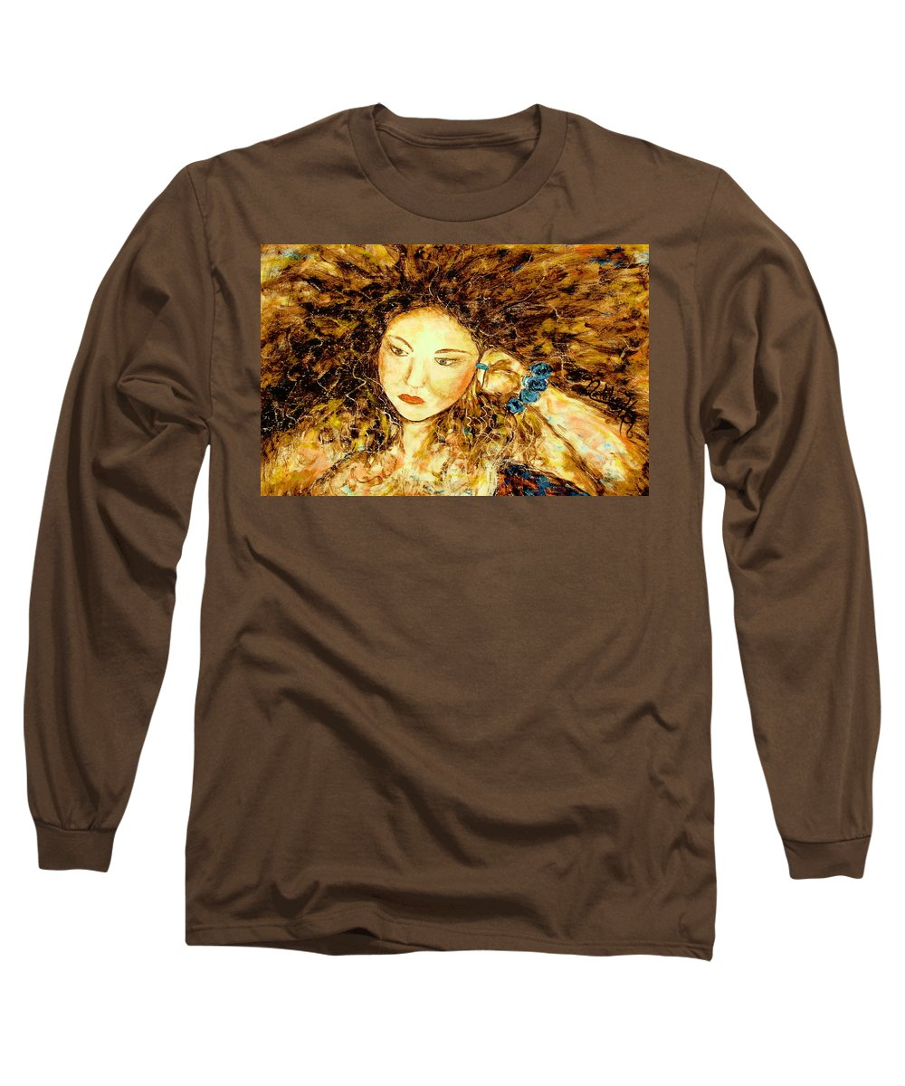 Portrait Long Sleeve T-Shirt featuring the painting Poet by Natalie Holland