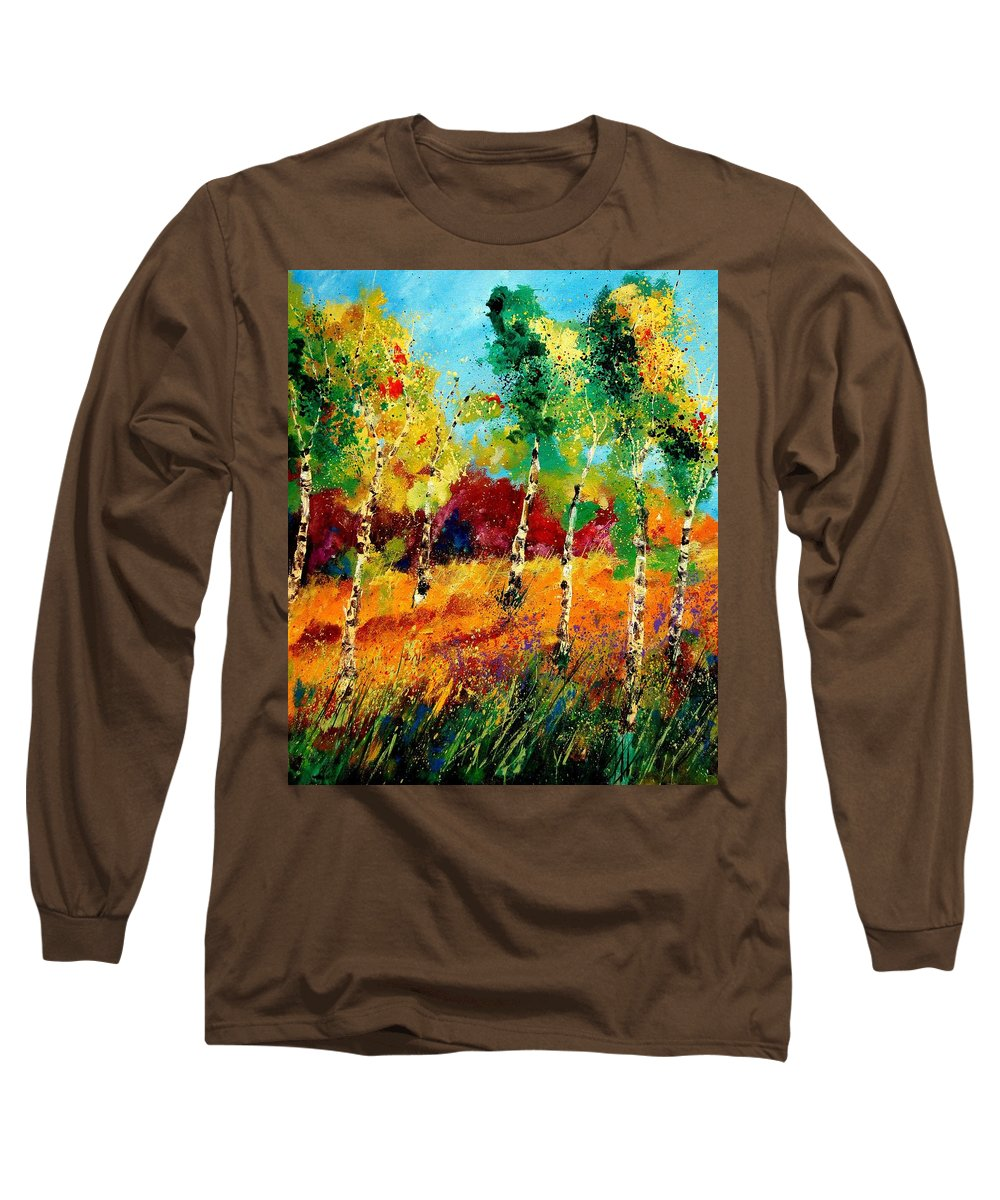 Poppy Long Sleeve T-Shirt featuring the painting Poplars '459070 by Pol Ledent