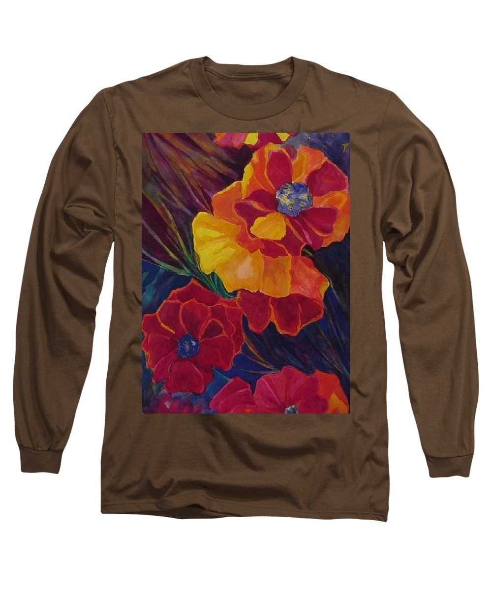 Flowers Long Sleeve T-Shirt featuring the painting Poppies by Carolyn LeGrand