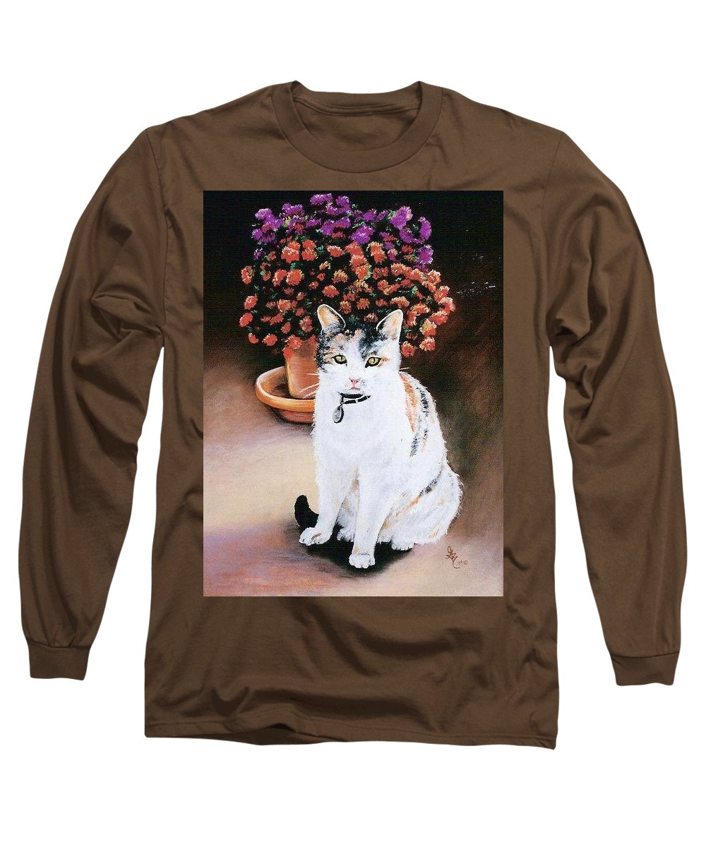 Cat Long Sleeve T-Shirt featuring the pastel Queen Marishka by Gale Cochran-Smith