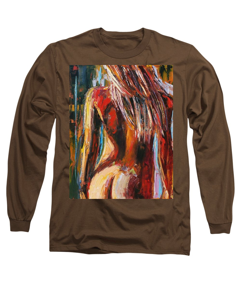 Nude Long Sleeve T-Shirt featuring the painting Quiet Breeze by Debra Hurd