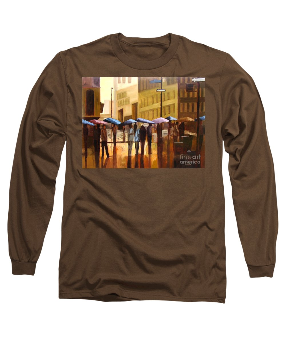 Cityscape Long Sleeve T-Shirt featuring the painting Rain In Manhattan Number Seventeen by Tate Hamilton