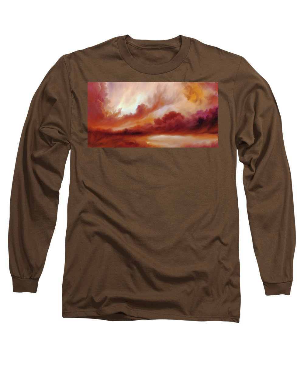 Skyscape Long Sleeve T-Shirt featuring the painting Receding Storm Sketch IIi by James Christopher Hill