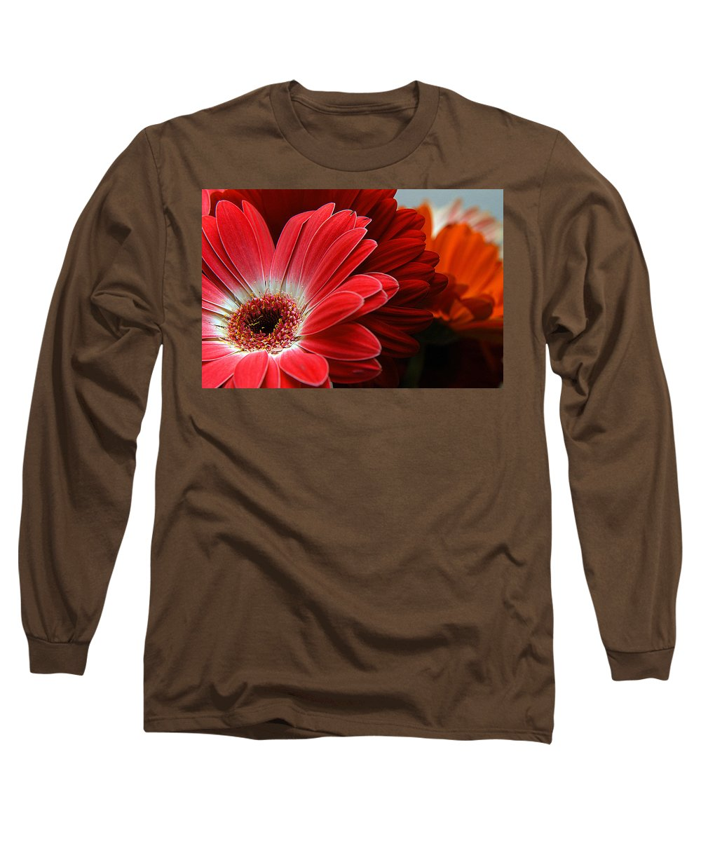 Clay Long Sleeve T-Shirt featuring the photograph Red And Orange Florals by Clayton Bruster