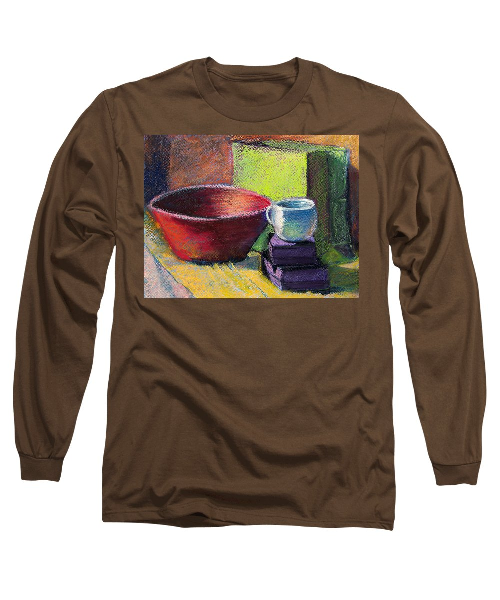Bowl Long Sleeve T-Shirt featuring the painting Red Bowl by Laurie Paci