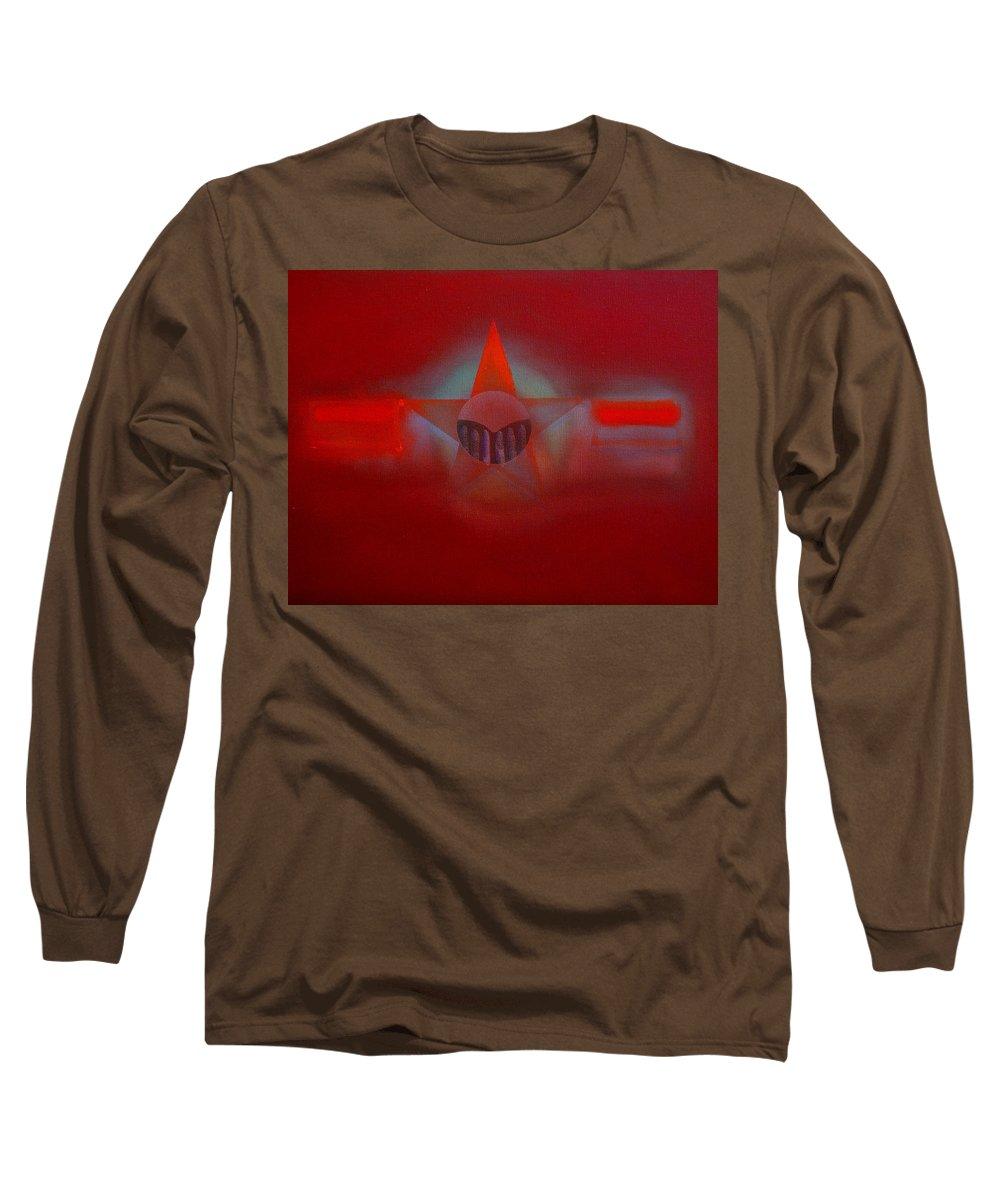 Usaaf Insignia And Idealised Landscape In Union Long Sleeve T-Shirt featuring the painting Red Dawn by Charles Stuart