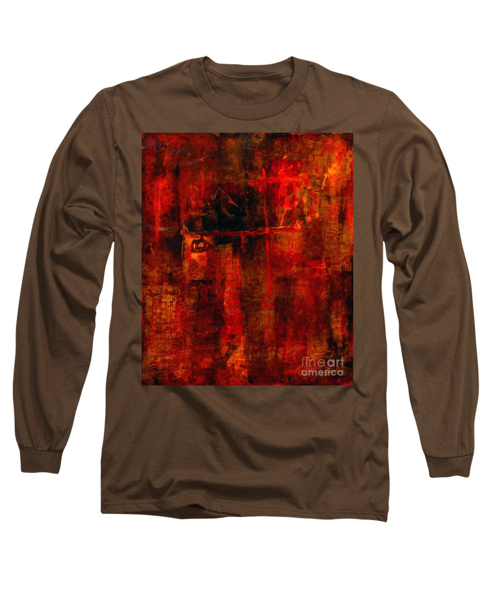 Abstract Painting Long Sleeve T-Shirt featuring the painting Red Odyssey by Pat Saunders-White