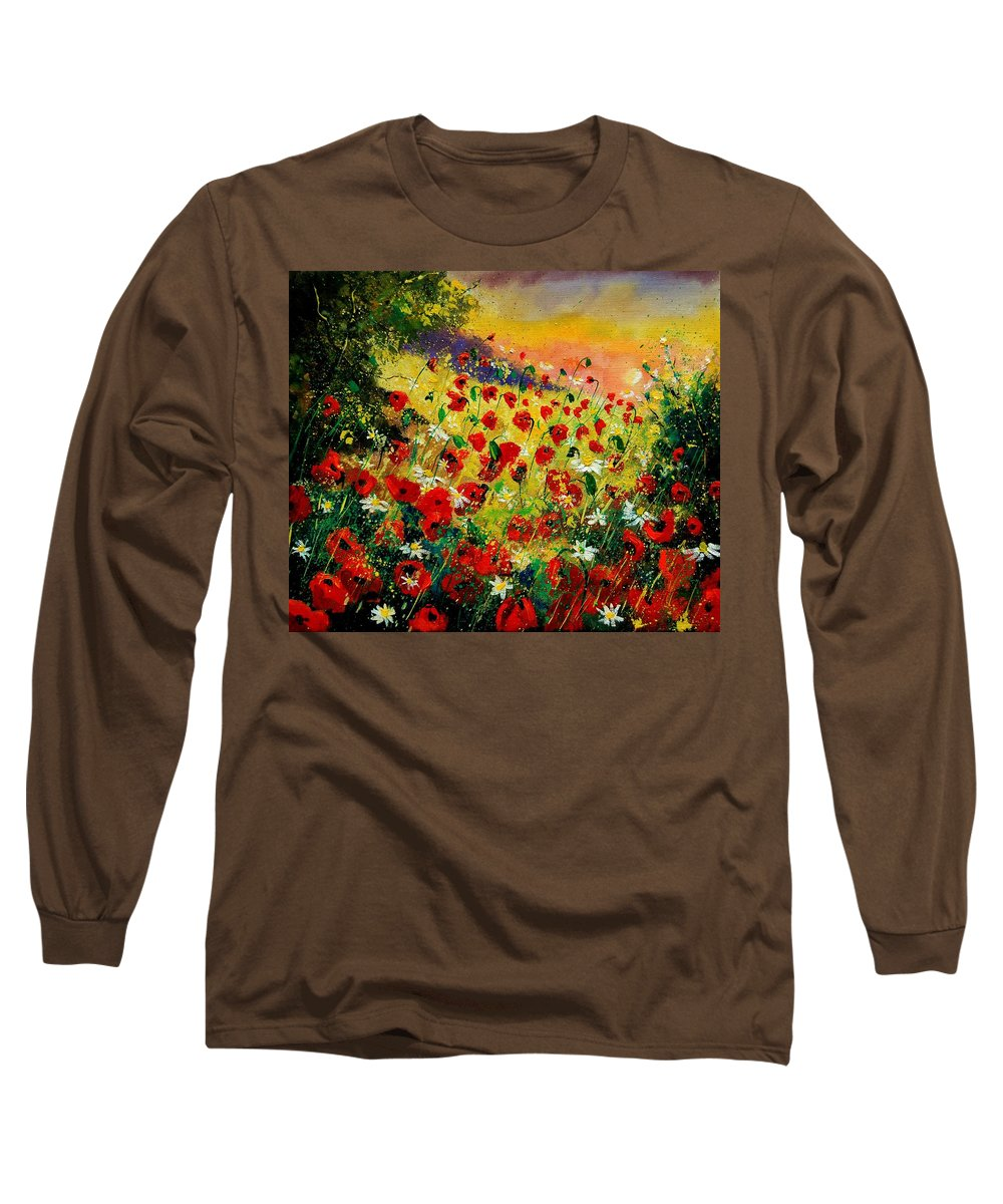 Tree Long Sleeve T-Shirt featuring the painting Red Poppies by Pol Ledent