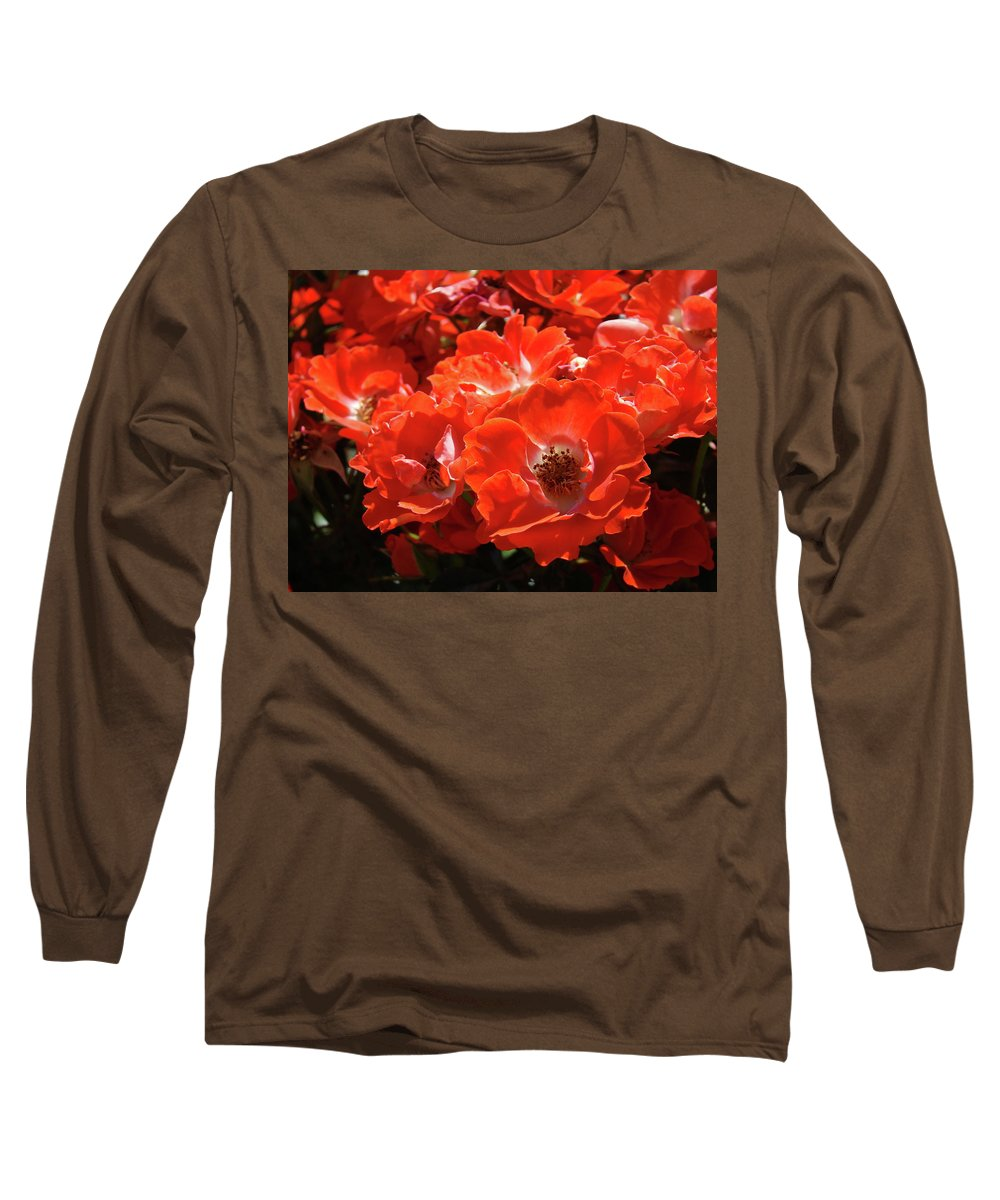 Rose Long Sleeve T-Shirt featuring the photograph Red Roses Botanical Landscape 1 Red Rose Giclee Prints Baslee Troutman by Baslee Troutman