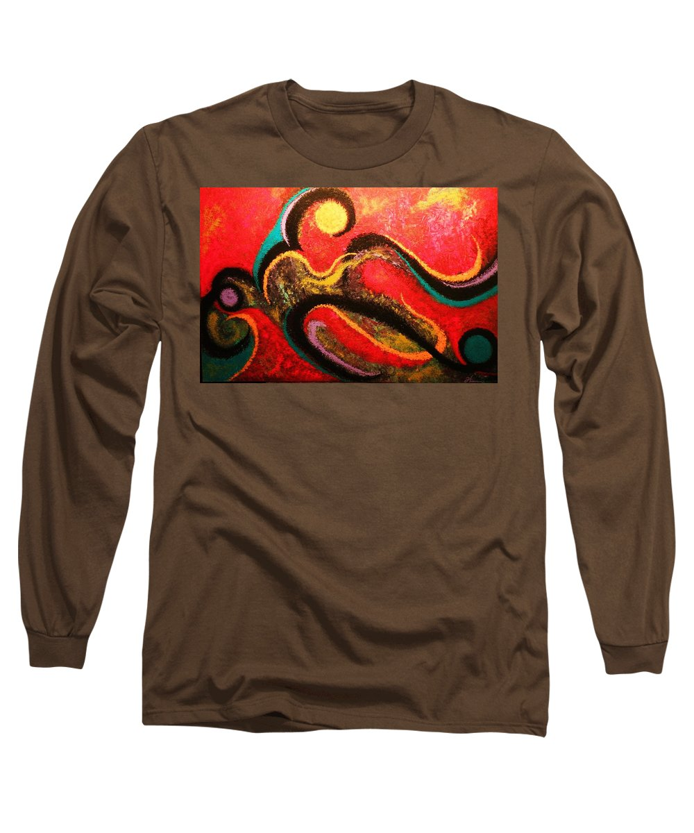 Red Long Sleeve T-Shirt featuring the painting Red Tide by Todd Hoover