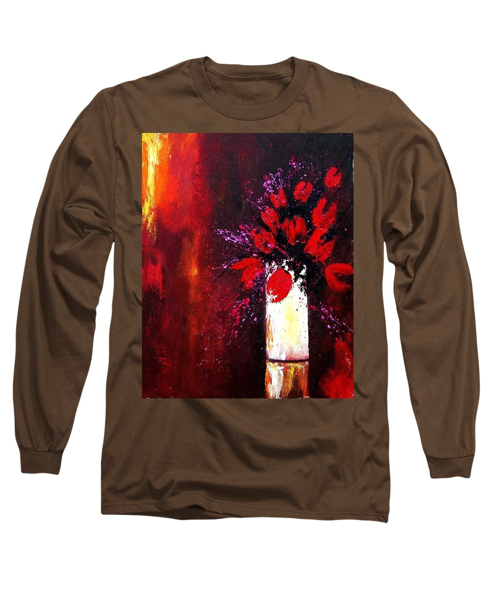 Flowers Long Sleeve T-Shirt featuring the painting Red Tulips by Pol Ledent