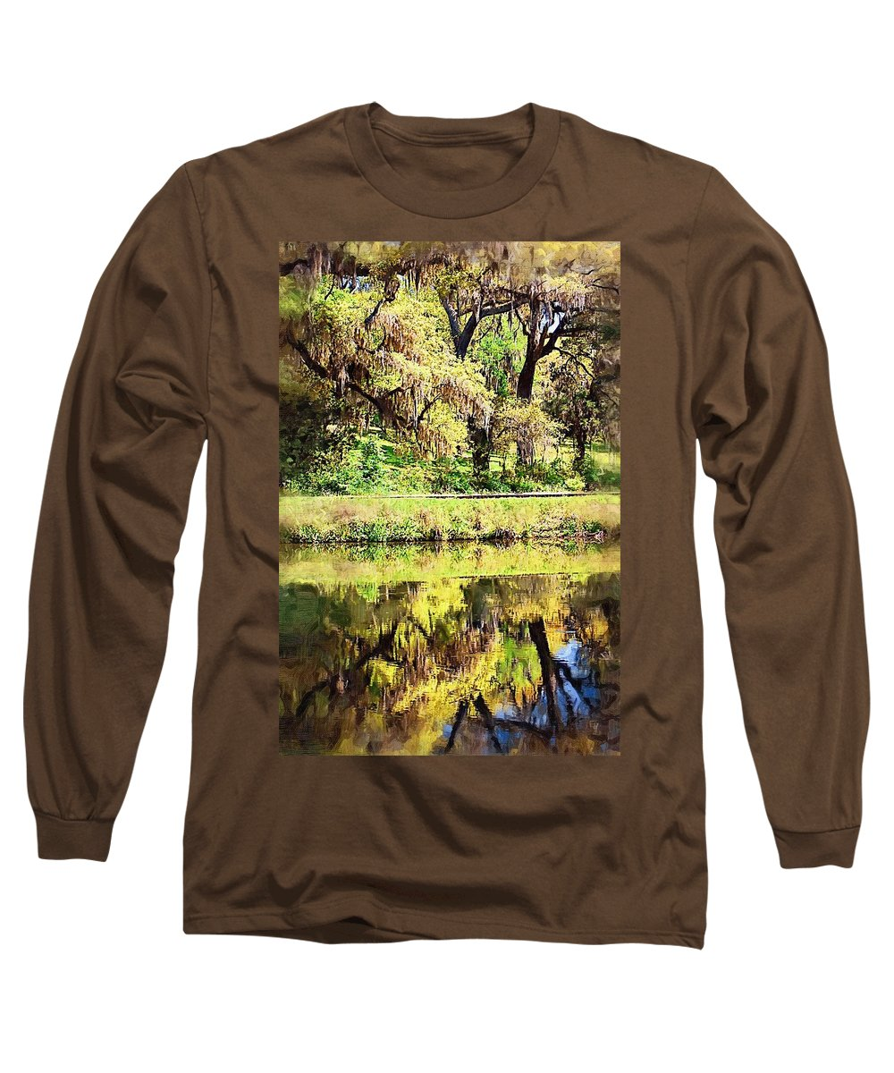 Landscape Long Sleeve T-Shirt featuring the photograph Reflective Live Oaks by Donna Bentley