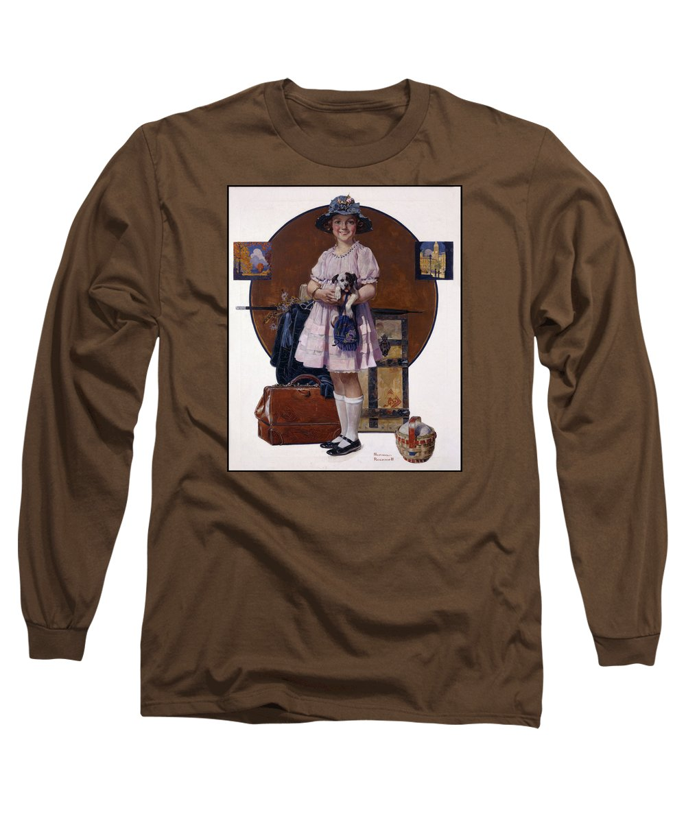 Returning From Summer Vacation Long Sleeve T-Shirt featuring the painting Returning From Summer Vacation by Norman Rockwell