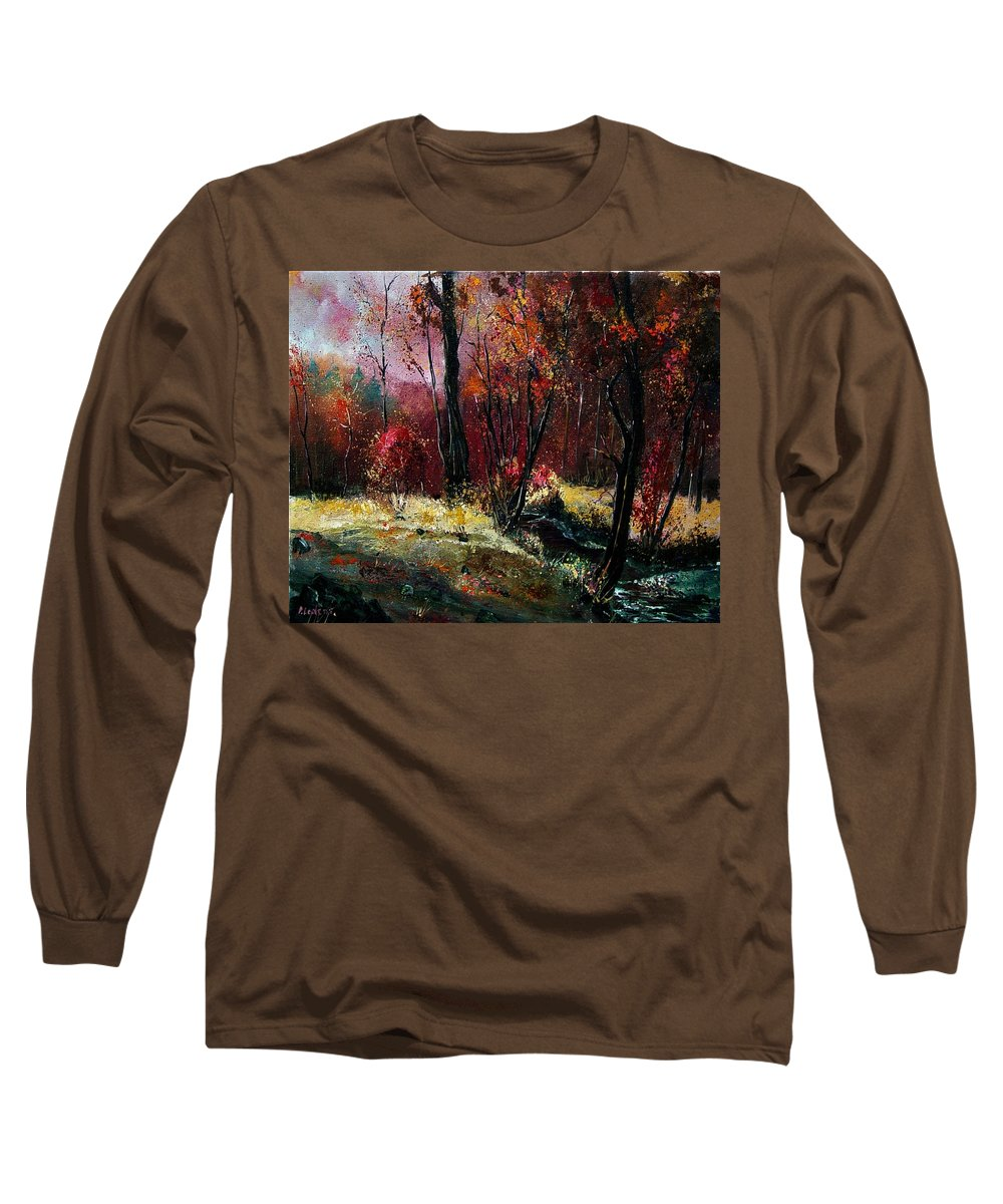 River Long Sleeve T-Shirt featuring the painting River Ywoigne by Pol Ledent