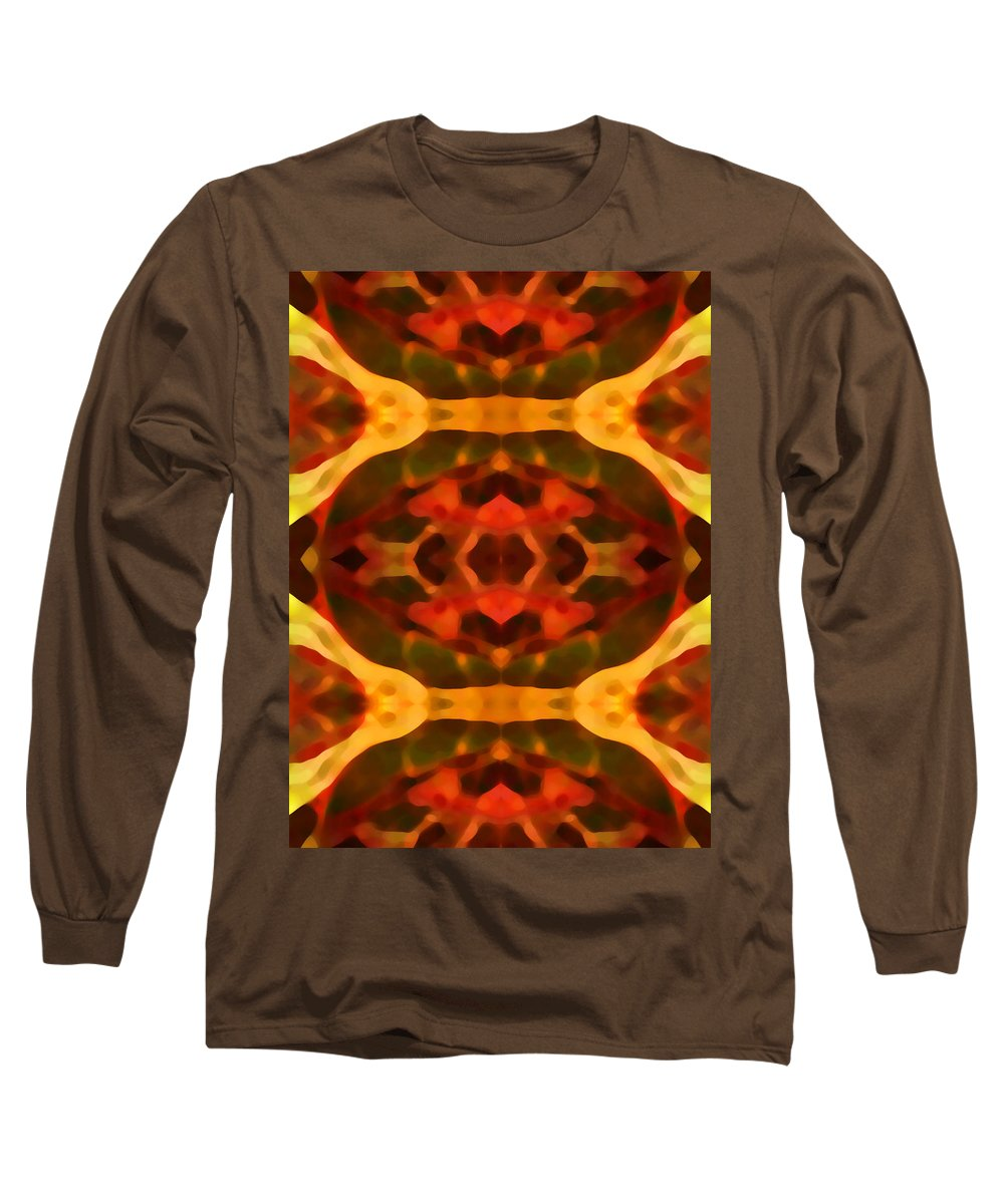 Abstract Painting Long Sleeve T-Shirt featuring the digital art Ruby Crystal Pattern by Amy Vangsgard