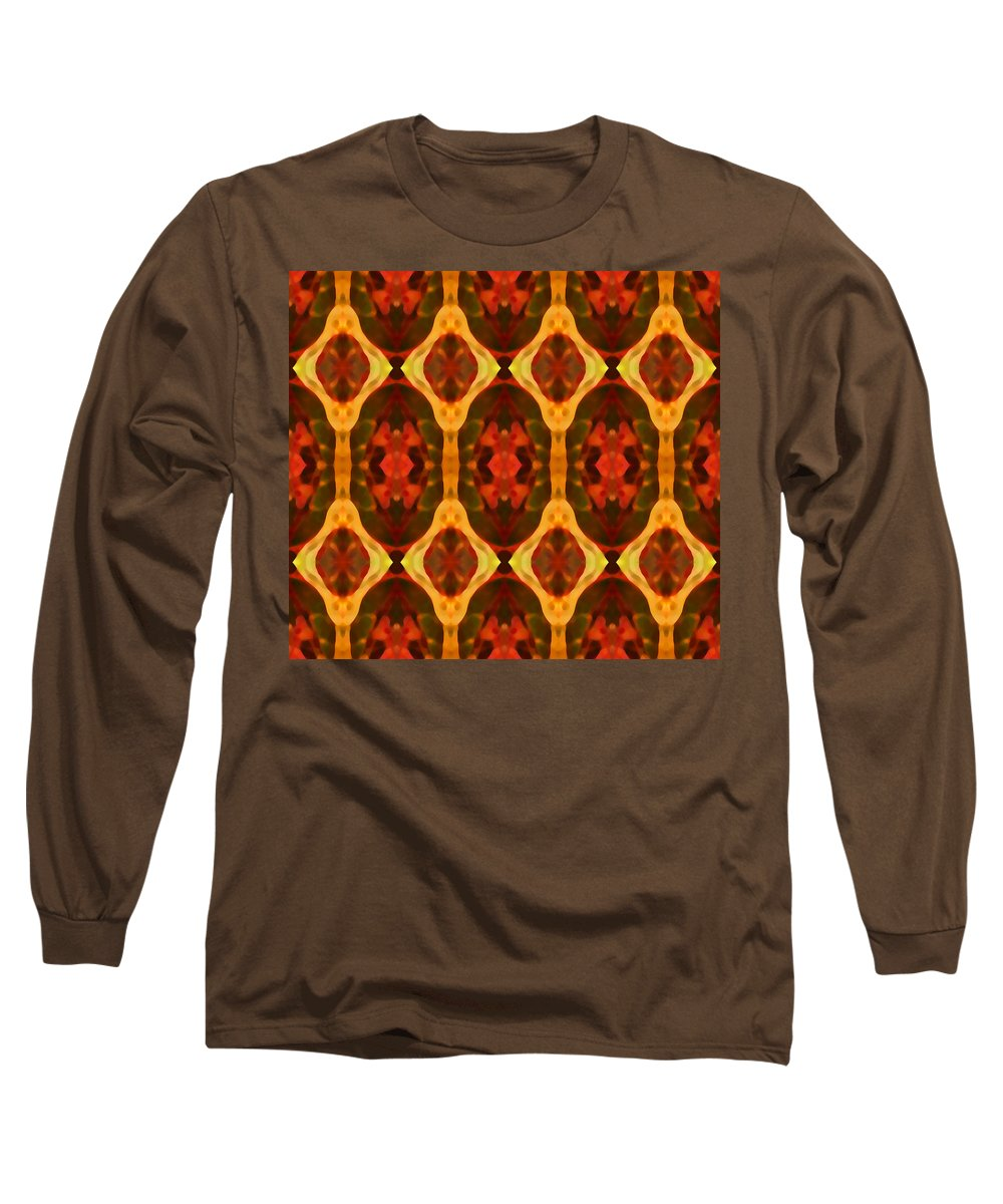 Abstract Long Sleeve T-Shirt featuring the painting Ruby Glow Pattern by Amy Vangsgard