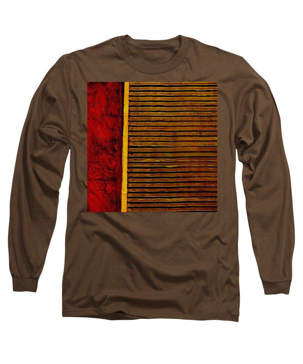 Rustic Long Sleeve T-Shirt featuring the painting Rustic Abstract One by Michelle Calkins