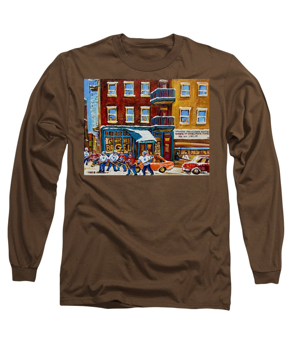 Montreal Long Sleeve T-Shirt featuring the painting Saint Viateur Bagel With Hockey by Carole Spandau