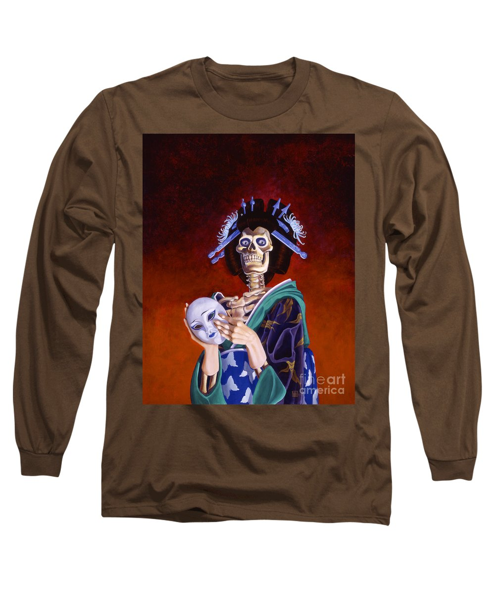 Skeleton Long Sleeve T-Shirt featuring the painting Skeletal Geisha With Mask by Melissa A Benson