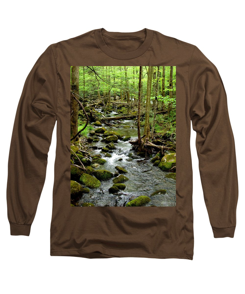 River Long Sleeve T-Shirt featuring the photograph Smoky Mountain Stream 2 by Nancy Mueller