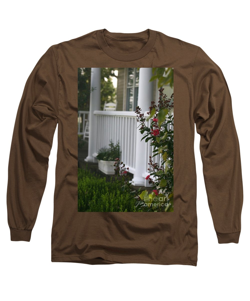 Summer Long Sleeve T-Shirt featuring the photograph Southern Summer Flowers And Porch by Nadine Rippelmeyer