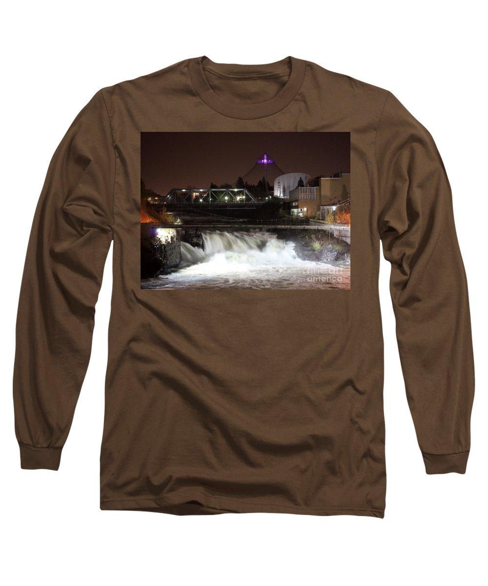 Spokane Long Sleeve T-Shirt featuring the photograph Spokane Falls Night Scene by Carol Groenen
