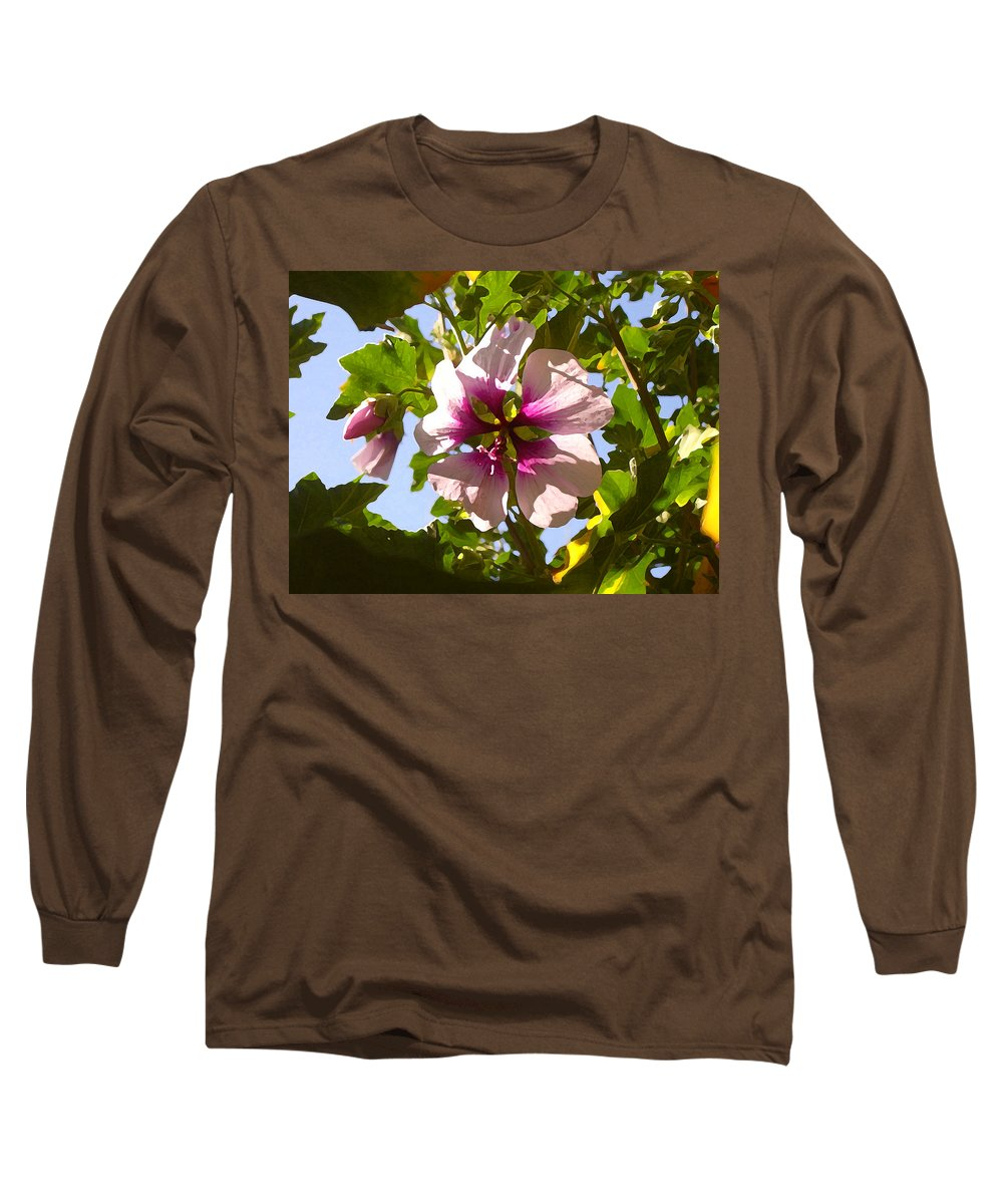 Flower Long Sleeve T-Shirt featuring the painting Spring Flower Peeking Out by Amy Vangsgard