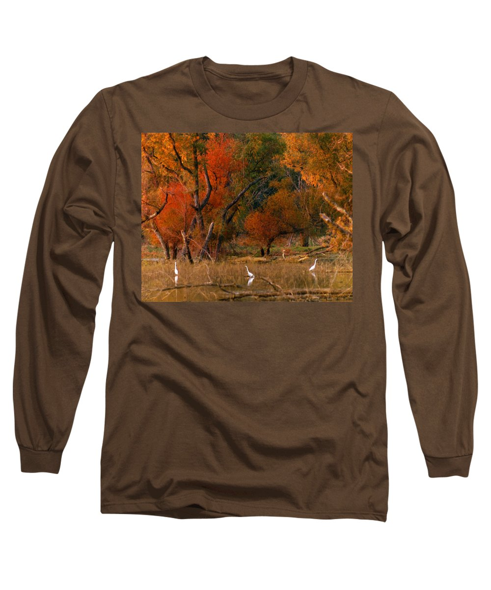 Landscape Long Sleeve T-Shirt featuring the photograph Squaw Creek Egrets by Steve Karol