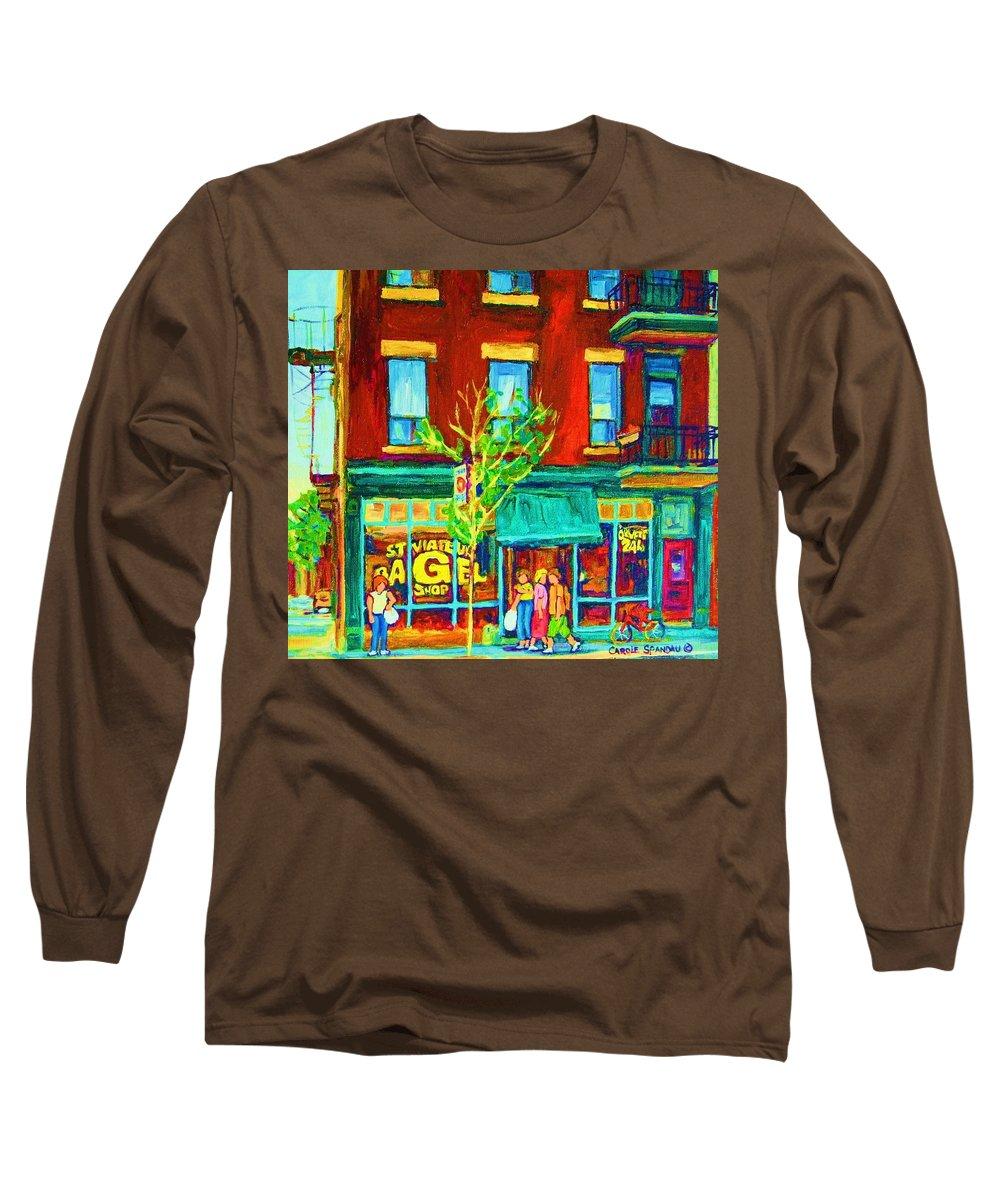St. Viateur Bagel Shop Long Sleeve T-Shirt featuring the painting St Viateur Bagel Shop by Carole Spandau
