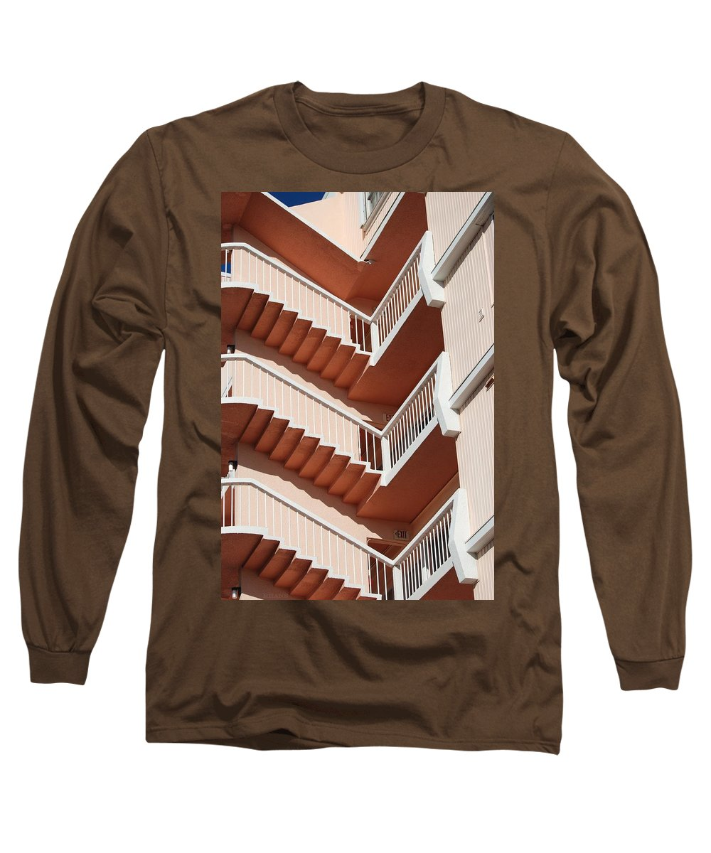 Architecture Long Sleeve T-Shirt featuring the photograph Stairs And Rails by Rob Hans
