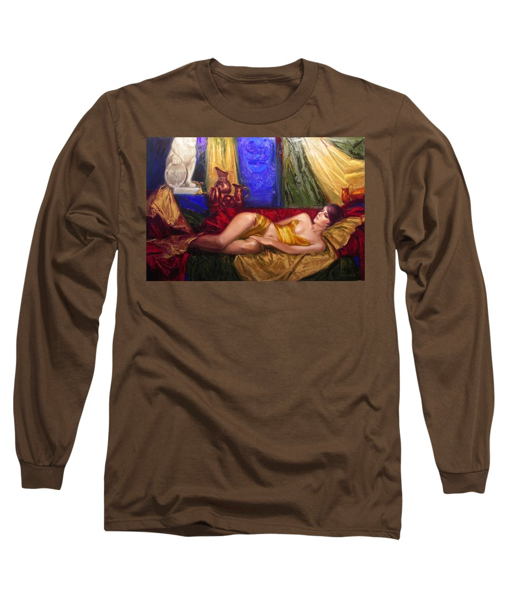 Art Long Sleeve T-Shirt featuring the painting Sultan Spouse by Sergey Ignatenko