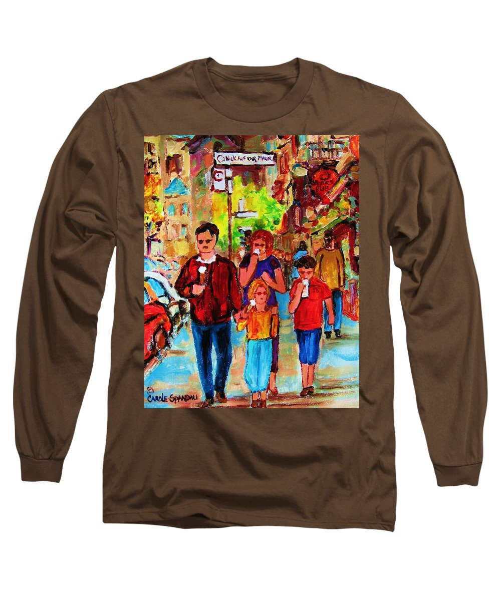 Montreal Streetscenes Long Sleeve T-Shirt featuring the painting Summer In The City by Carole Spandau