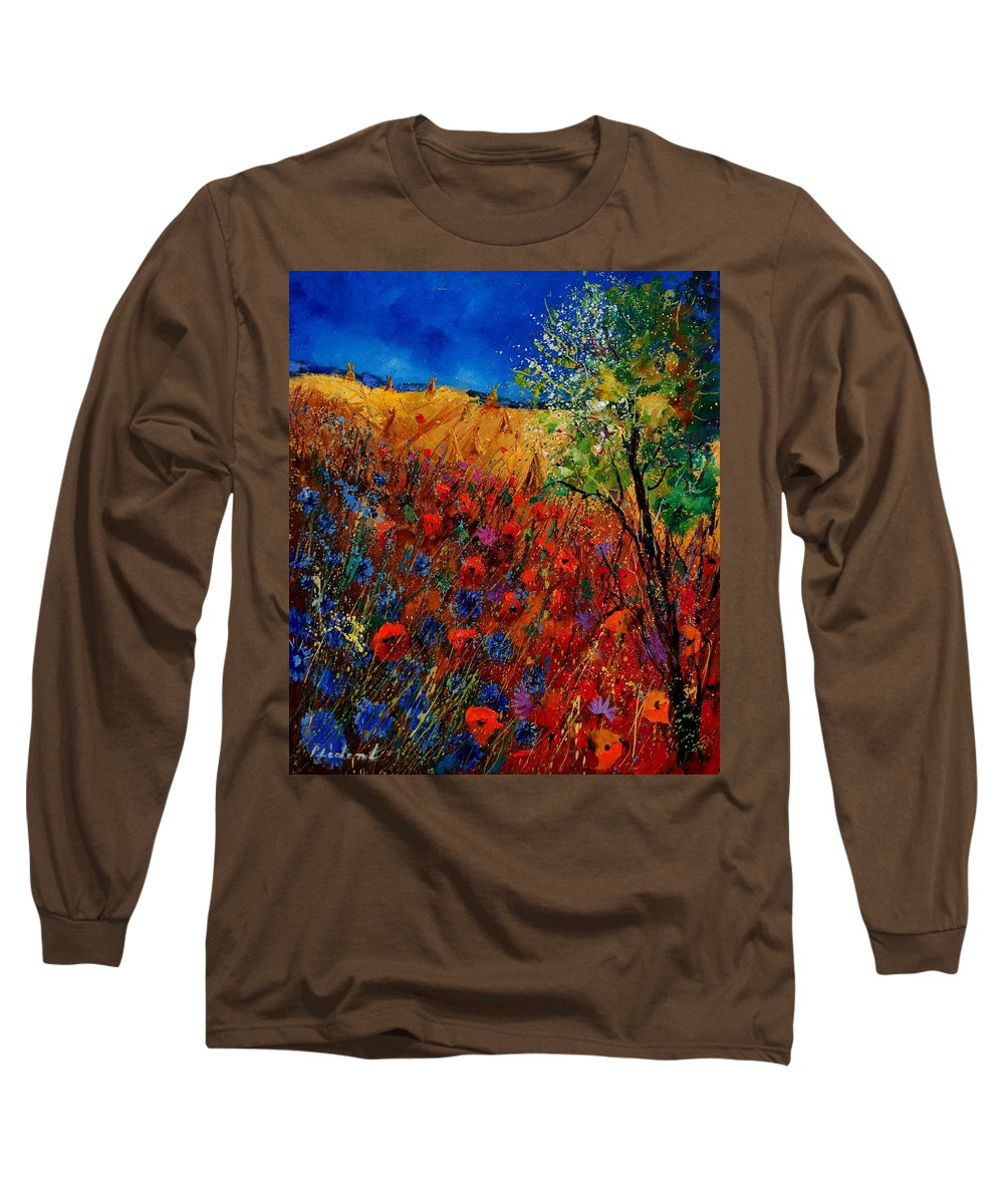 Flowers Long Sleeve T-Shirt featuring the painting Summer Landscape With Poppies by Pol Ledent