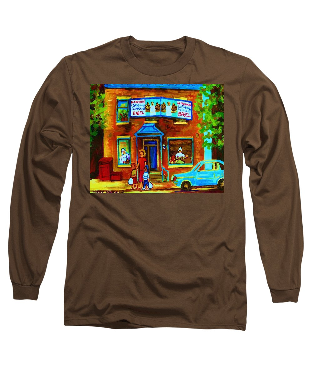 Mom And Tots Long Sleeve T-Shirt featuring the painting Summers With Mom At Fairmount by Carole Spandau