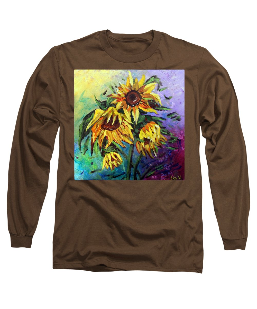 Art Long Sleeve T-Shirt featuring the painting Sunflowers In The Rain by Luiza Vizoli