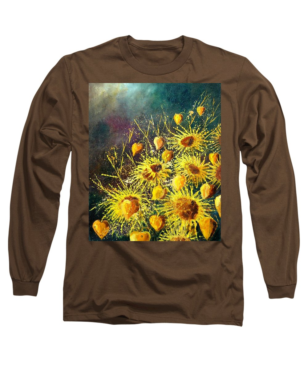 Flowers Long Sleeve T-Shirt featuring the painting Sunflowers by Pol Ledent