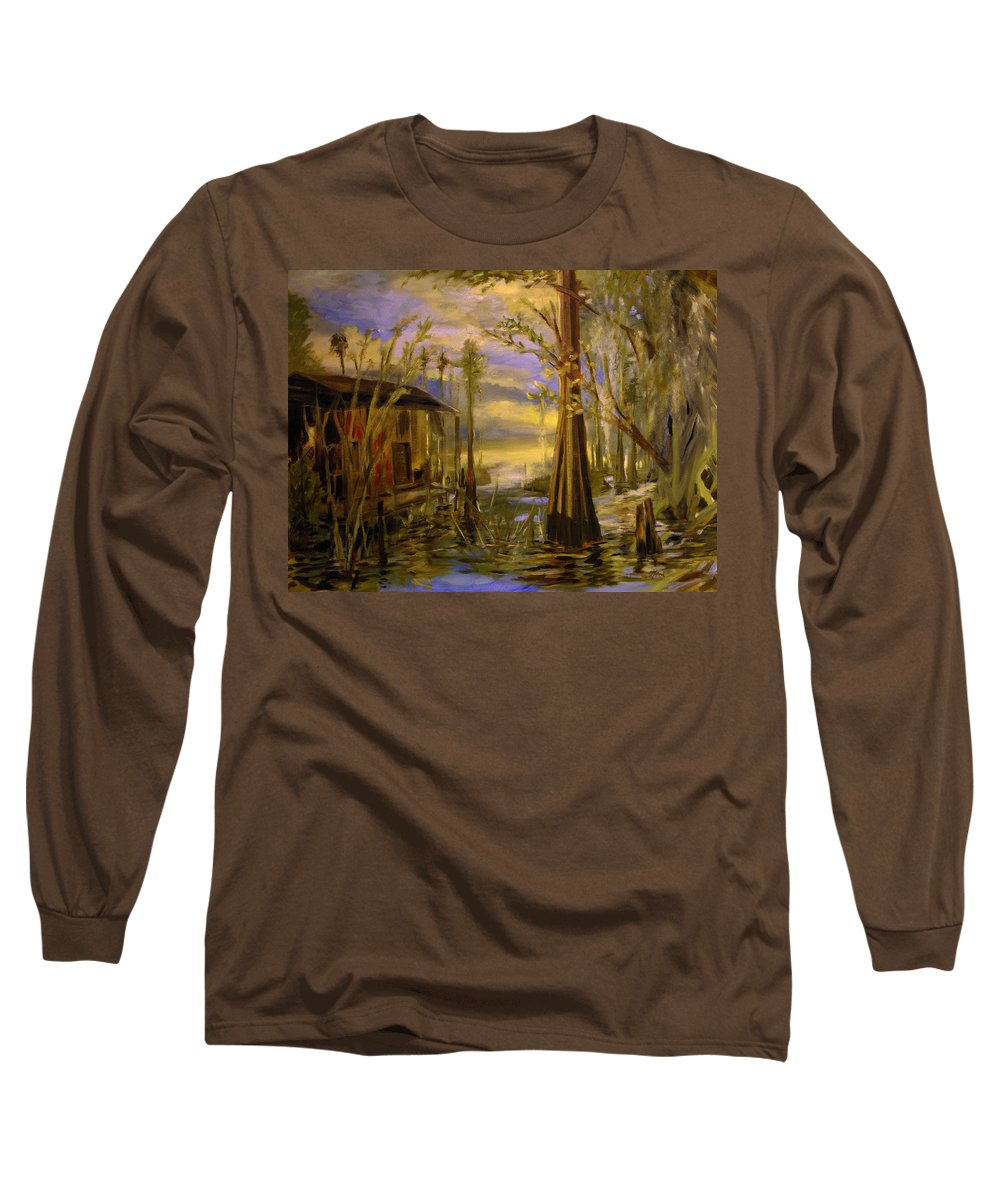 Swamp Long Sleeve T-Shirt featuring the painting Sunlight On The Swamp by Julianne Felton